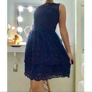 Francescas Navy Blue Floral Lace and Mesh Dress